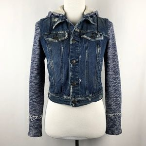 Free People Distressed Denim and Knit Jacket